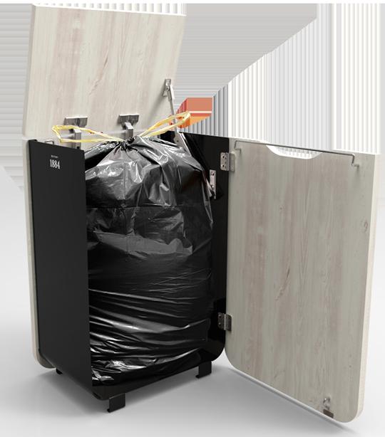 Distribel borne de tri sélectif bois et métale à ouverture Frontale. 100% recyclable.
