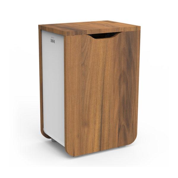 Meuble poubelle Distribel 1884 bois poirier métal blanc