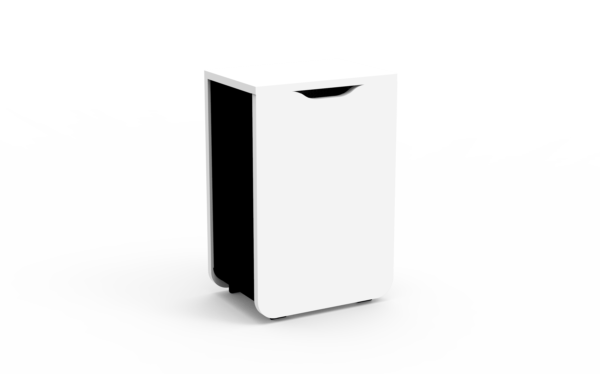 Poubelle de tri bois blanc/métal noir