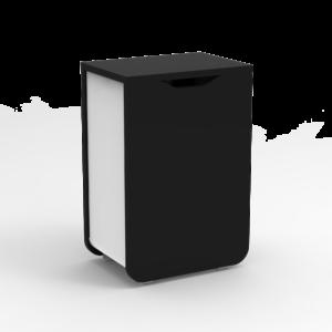 Poubelle à porte bois noir et métal blanc, design