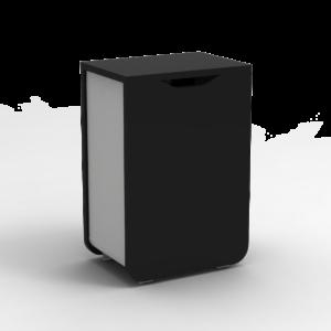 Poubelle avec porte bois noir métal gris