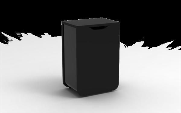 Poubelle en bois et en métal1884 bois noir/métal noir