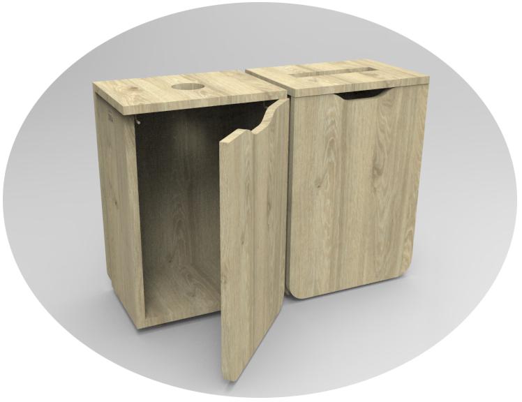 borne de tri sélectif tout en bois avec pièce centrale en angle droit. entièrement recyclable.