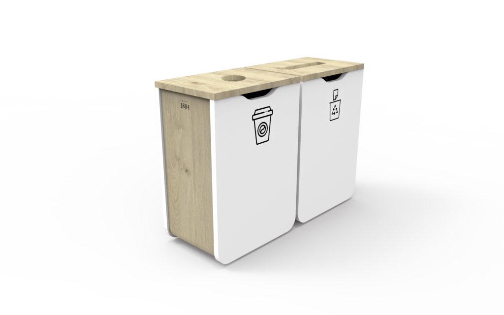 bornes de tri sélectif sur-mesure tout en bois (chêne et blanc)