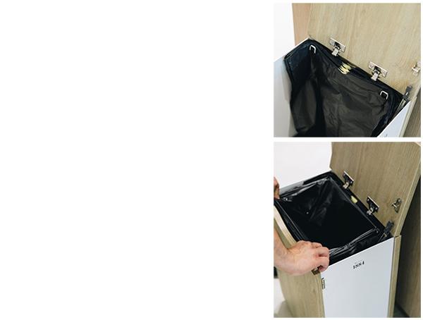 mise en place de la recharge Distribel et d' un sac dans une borne de tri sélectif pratique.